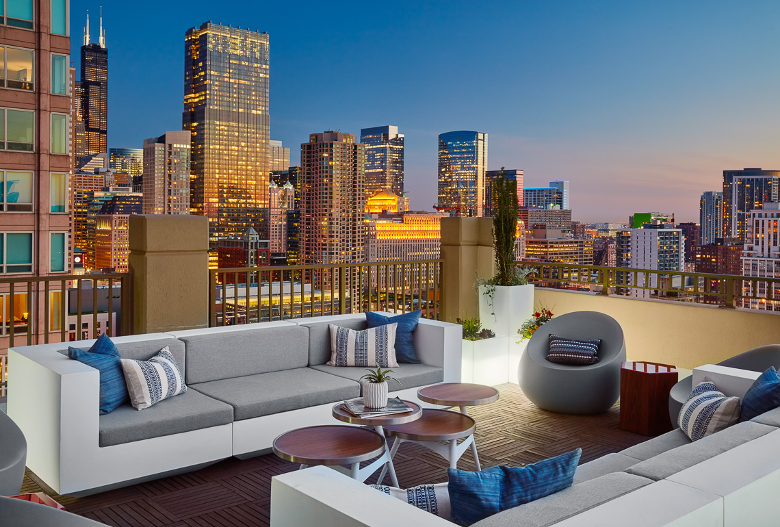 Roof Top Patio with a Skyline View